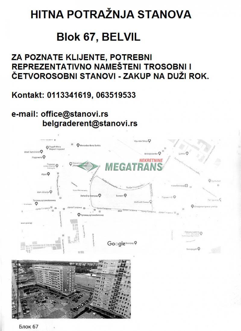 Stan Izdavanje BEOGRAD Novi Beograd Belville